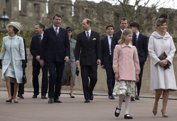 Princess Anne, Princess Royal, Timothy Laurence and Prince Edward, Earl of Wessex arrive to attend the Easter Sunday service at St George's Chapel at Windsor Castle on April 5, 2015 in Windsor, England.
