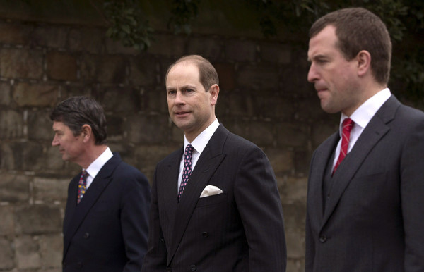 Timothy Laurence and Prince Edward, Earl of Wessex arrive to attend the Easter Sunday service at St George's Chapel at Windsor Castle on April 5, 2015 in Windsor, England.