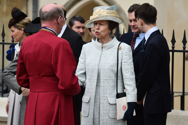 Princess Anne, Princess Royal leaves the Easter Sunday service at St George's Chapel at Windsor Castle on April 5, 2015 in Windsor, England.