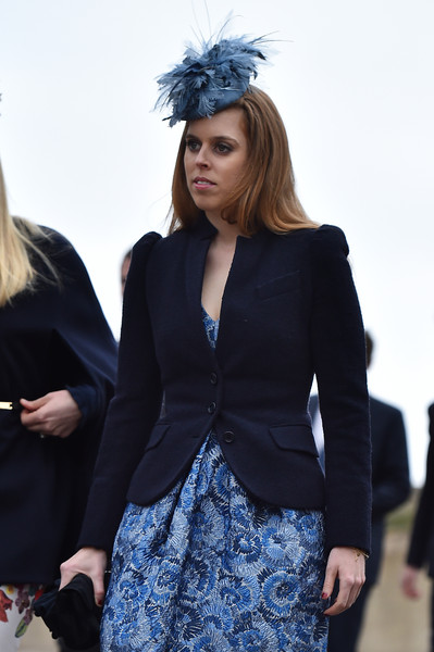 Princess Beatrice arrives to attend the Easter Sunday service at St George's Chapel at Windsor Castle on April 5, 2015 in Windsor, England.
