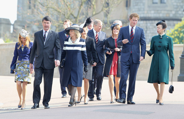 (L-R) Princess Beatrice, Timothy Laurence, Camilla, Duchess of Cornwall, Sophie, Countess of Wessex, Prince Andrew, Duke of York, Princess Eugenie, Prince Harry and Princess Anne arrive for a thanksgiving service for the Queen Mother at St George's Chapel on March 30, 2012 in Windsor, England.