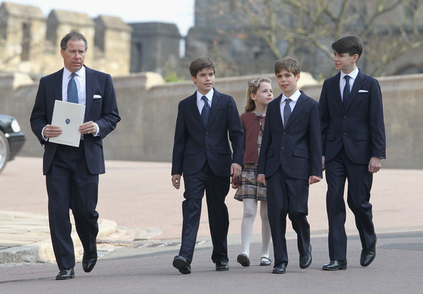 Viscount Linley (L) with his children Margarita Armstrong-Jones, Charles Patrick Inigo Armstrong-Jones, and nephews Samuel Chatto and Arthur Chatto arrive for a thanksgiving service for the Queen Mother and Princess Margaret at St George's Chapel on March 30, 2012 in Windsor, England.