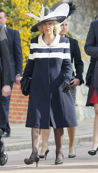 Camilla, Duchess of Cornwall arrives for a thanksgiving service for the Queen Mother and Princess Margaret at St George's Chapel on March 30, 2012 in Windsor, England.