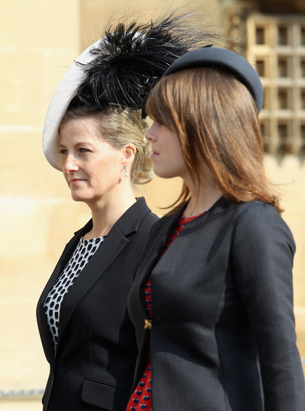 Sophie, Countess of Wessex and Princess Eugenie leave a thanksgiving service for the Queen Mother and Princess Margaret at St George's Chapel on March 30, 2012 in Windsor, England.
