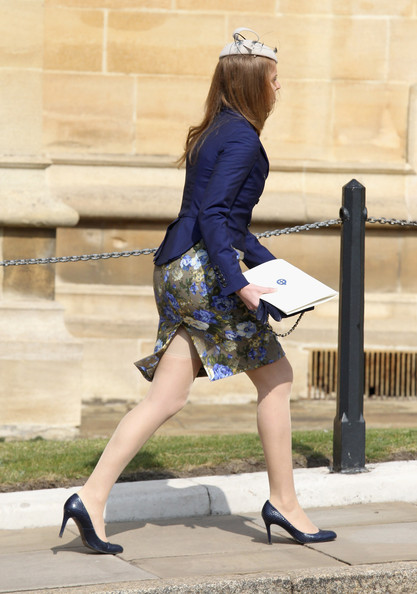 Princess Beatrice leaves a thanksgiving service for the Queen Mother and Princess Margaret at St George's Chapel on March 30, 2012 in Windsor, England.