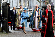 Queen Elizabeth II and Prince Philip, Duke of Edinburgh are escorted by Dean of Westminster Dr John Hall as they attend the Commonwealth Observance Day Service on March 14, 2016 in London, United Kingdom. The service is the largest annual inter-faith gathering in the United Kingdom and will celebrate the Queen's 90th birthday. Kofi Annan and Ellie Goulding will take part in the service.