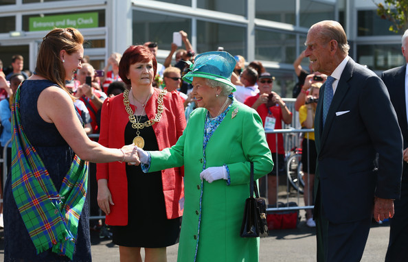 Queen Elizabeth II  is greeted by Village Chieftain Shirley Addison during a visit to the Athletes Village during the Commonwealth games on July 24, 2014 in Glasgow, Scotland.