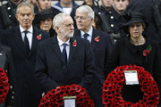 (L-R) Former British prime minister Tony Blair, Britain's opposition Labour Party Leader Jeremy Corbyn, former British prime minister John Major and British prime minister Theresa May participate in the Remembrance Sunday ceremony at the Cenotaph on Whitehall in central London, on November 12, 2017..Services are held annually across Commonwealth countries during Remembrance Day to commemorate servicemen and women who have fallen in the line of duty since World War I. / AFP PHOTO / Tolga AKMEN
