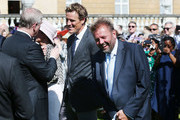 Prince Andrew, Duke of York (L) meets James Cracknell and Martin Roberts (R) during the Royal Society for the Prevention of Accidents (RoSPA) Centenary Garden Party on May 25, 2017 at Buckingham Palace, London.