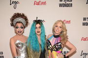(L-R) Bianca Del Rio, Adore Delano and Courtney Act attend RuPaul's Drag Race Reunion/Finale at Orpheum Theatre on May 19, 2015 in Los Angeles, California.