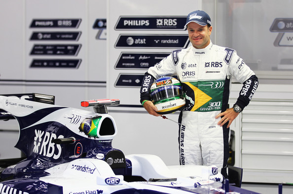 Rubens Barrichello Rubens Barrichello of Brazil and Williams appears with specially designed overalls and helmet to commerorate his 300th Grand Prix before practice for the Belgian Formula One Grand Prix at the Circuit of Spa Francorchamps on August 27, 2010 in Spa Francorchamps, Belgium.