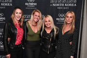 """Amy Williams, Chemmy Alcott, Aimee Fuller and Sarah Joanne Lindsay  attend the """"Running in North Korea"""" World Premiere at Curzon Bloomsbury on September 23, 2019 in London, England."""