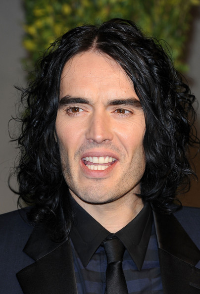 Russell Brand Comedian Russell Brand arrives at the Vanity Fair Oscar party ...