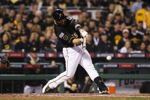 Russell Martin Russell Martin #55 of the Pittsburgh Pirates hits a single in the second inning against the San Francisco Giants during the National League Wild Card game at PNC Park on October 1, 2014 in Pittsburgh, Pennsylvania.