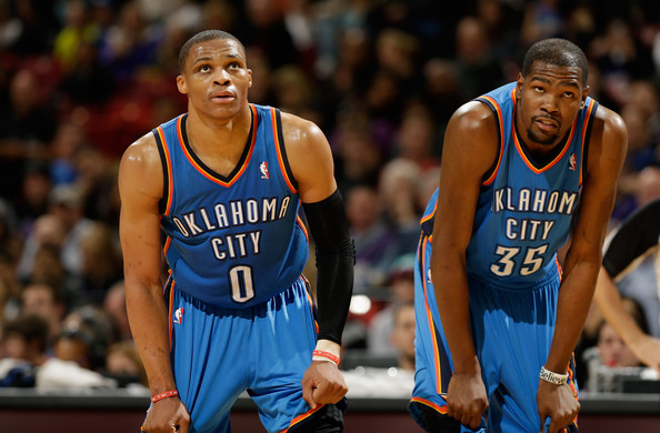Kevin Durant and Russell Westbrook - Oklahoma City Thunder v Sacramento Kings