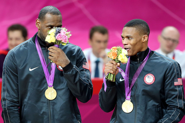 Olympics Day 16 - Basketball Russell Westbrook And Lebron James
