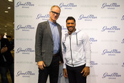 Co-president of Nordstrom Pete Nordstrom poses with Seattle Seahawks quarterback Russell Wilson on February 29, 2016 in Seattle, Washington.