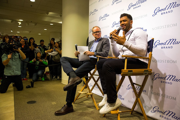 Russell Wilson Launches Good Man Brand at Nordstrom [nordstrom,russell wilson launches good man brand,seattle seahawks,yellow,event,community,youth,adaptation,design,conversation,convention,table,collaboration,seattle,washington,russell wilson,co-president,nordstrom pete nordstrom]