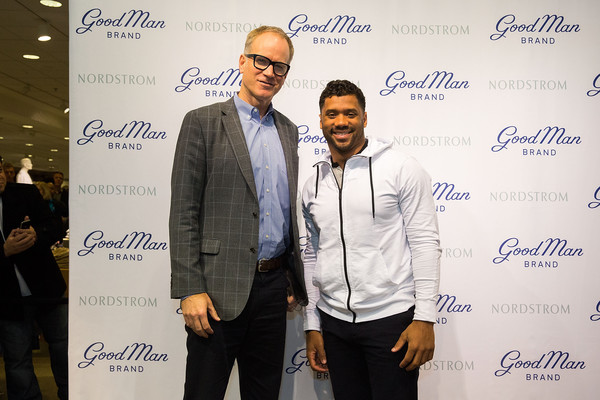 Russell Wilson Launches Good Man Brand at Nordstrom [event,font,brand,businessperson,russell wilson,co-president,nordstrom pete nordstrom,seattle,washington,nordstrom,russell wilson launches good man brand,seattle seahawks]