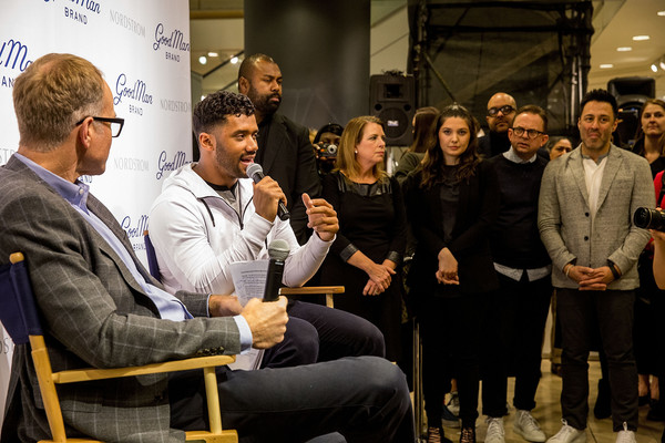 Russell Wilson Launches Good Man Brand at Nordstrom [nordstrom,russell wilson launches good man brand,seattle seahawks,event,design,conversation,tourism,convention,job,crowd,seattle,washington,russell wilson,co-president,nordstrom pete nordstrom]