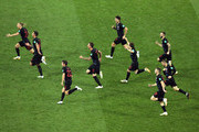 Croatia players celebrate winning the penalty shoot out during the 2018 FIFA World Cup Russia Quarter Final match between Russia and Croatia at Fisht Stadium on July 7, 2018 in Sochi, Russia.