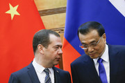 Chinese Premier Li Keqiang and Russian Prime Minister Dmitry Medvedev attend a signing ceremony at the Great Hall of the People on November 1, 2017 in Beijing, China. Medvedev is on an official three-day visit to China.
