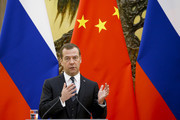 Russian Prime Minister Dmitry Medvedev speaks during a news conference after talks with Chinese Premier Li Keqiang at the Great Hall of the People on November 1, 2017 in Beijing, China. Medvedev is on an official three-day visit to China.
