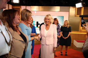 Ruth Langsford Camilla, Duchess of Cornwall Visits ITV Studios To Mark Their 60th Anniversary