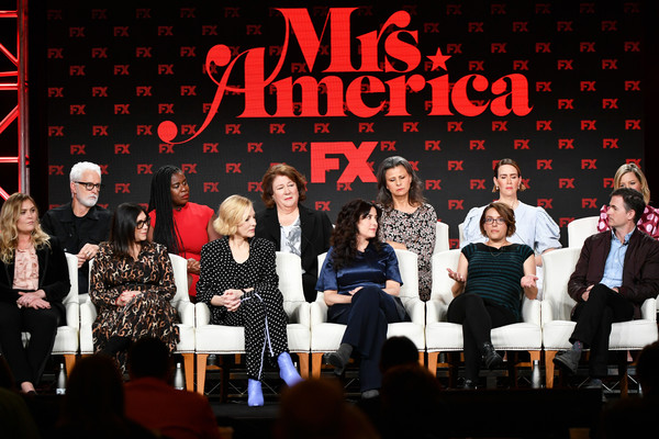 2020 Winter TCA Tour - Day 3 [event,performance,musical ensemble,music,musical theatre,musical,talent show,heater,performing arts,font,mrs.,john slattery,coco francini,stacey sher,sarah paulson,tracey ullman,anna boden,l-r,pasadena,winter tca,stacey sher,cate blanchett,ryan murphy,mrs. america,united states,american crime story,american horror story,dahvi waller,fx]