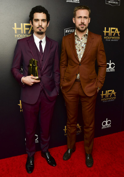 22nd Annual Hollywood Film Awards - Press Room [suit,red carpet,formal wear,carpet,tuxedo,maroon,flooring,premiere,event,award,damien chazelle,ryan gosling,22nd annual hollywood film awards - press room,press room,beverly hills,california,l,annual hollywood film awards]