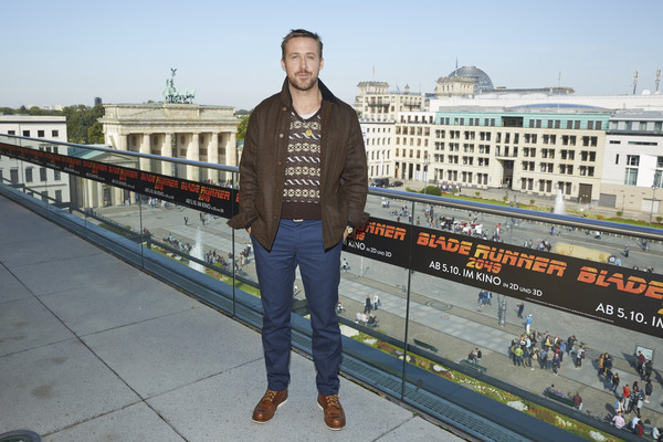 'Blade Runner 2049' Photo Call in Berlin [blade runner,tourism,outerwear,architecture,photography,city,jacket,vacation,travel,jeans,ryan gosling,l-r,berlin,germany,akademie der kuenste,photo call,photo call]