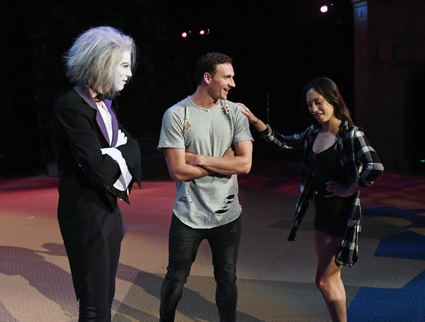 Olympian Ryan Lochte and 'Dancing With the Stars' Pro Cheryl Burke Rehearse With the Cast of 'O' by Cirque du Soleil [dancing with the stars,cheryl burke rehearse with the cast,performance,event,performing arts,fun,singing,stage,costume,duet,music,talent show,ryan lochte,pro,cheryl burke,benedikt negro,le vieux,o,l-r,cirque du soleil]