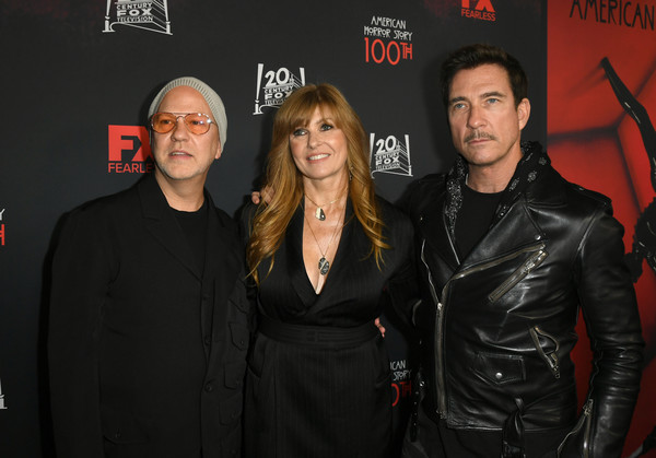 """FX's """"American Horror Story"""" 100th Episode Celebration - Red Carpet [american horror story,premiere,event,textile,leather,jacket,connie britton,dylan mcdermott,ryan murphy,l-r,hollywood forever,california,fx,red carpet,episode celebration]"""
