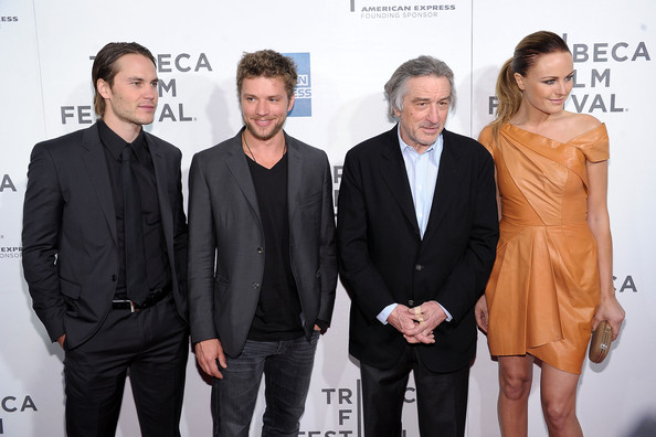 "Tribeca Film & American Express Present The Tribeca Film Festival & Cinema Society Premiere Of ""The Bang Bang Club"" [tribeca film american express present the tribeca film festival cinema society premiere,the bang bang club,premiere,event,fashion,white-collar worker,carpet,suit,red carpet,flooring,fashion design,robert de niro,taylor kitsch,malin akerman,ryan phillippe,new york city,bmcc tribeca pac,american express cinema society premiere,tribeca film festival]"
