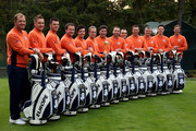 The European Team L-R: Peter Hanson, Ian Poulter, Martin Kaymer, Graeme McDowell, Rory McIlroy, Luke Donald, Jose Maria Olazabal (captain), Sergio Garcia, Francesco Molinari, Lee Westwood, Paul Lawrie, Justin Rose, Nicolas Colsaerts  pose for an official photograph during the second preview day of The 39th Ryder Cup at Medinah Country Golf Club on September 25, 2012 in Medinah, Illinois.