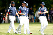 (L-R) Bubba Watson, Webb Simpson, Jim Furyk, Brandt Snedeker of the USA walk together during a practice round during the fourth preview day of The 39th Ryder Cup at Medinah Country Club on September 27, 2012 in Medinah, Illinois.