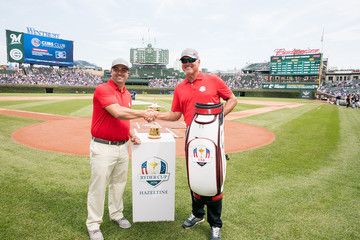 Ryne Sandberg Ryder Cup Trophy Visits Milwaukee Brewers v Chicago Cubs Game
