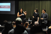(L-R) Variety's Jenelle Riley, writer/actor Carrie Brownstein and actor/producer Fred Armisen attend Sag Foundation's Conversations with Portlandia's Fred Armisen and Carrie Brownstein held at SAG Foundation Actors Center on June 18, 2014 in Los Angeles, California.