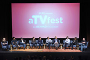 "Writer Torrey Speer, Writer Philip Buiser, Writer Scott Kosar, Writer Erica Lipez, Writer Alyson Evans, Writer Steve Kornacki, Executive producer Carlton Cuse, Actor and Writer Freddie Highmore, Executive Producer Kerry Ehrin, and Executive Editor Eric Goldman speak at the ""Bates Motel"" event during aTVfest 2016 presented by SCAD on February 6, 2016 in Atlanta, Georgia."