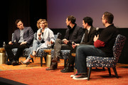 """(L-R) """"Gotham"""" actors Nathan Darrow, Camren Bicondova, Cory Michael Smith, Robin Lord Taylor and moderator Damian Holbrook speak during """"Gotham"""" panel duringaTVfest 2016 presented by SCAD on February 5, 2016 in Atlanta, Georgia."""
