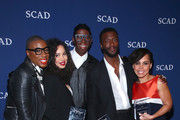 """Fashion personality Miss J. Alexander (C) poses with Actors (L-R) Aisha Hinds, Jurnee Smollett-Bell, Aldis Hodge and Amirah Vann with their Cast Award for """"Underground"""" backstage on Day One of aTVfest 2017 presented by SCAD at SCADshow Greenroom on February 2, 2017 in Atlanta, Georgia."""