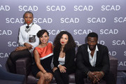 """Actors (L-R) .Aisha Hinds, Amirah Vann, Jurnee Smollett-Bell and Aldis Hodge attend a press junket for """"Underground"""" on Day One of aTVfest 2017 presented by SCAD on February 2, 2017 in Atlanta, Georgia."""