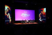 """(L-R) Actors Aldis Hodge, Amirah Vann, Aisha Hinds, Jurnee Smollett-Bell and Variety Executive Editor, Television, Debra Birnbaum speak on stage during Cast Award presentation for """"Underground"""" on Day One of aTVfest 2017 presented by SCAD at SCADshow Mainstage on February 2, 2017 in Atlanta, Georgia."""