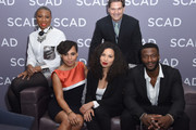 """Actors (L-R) .Aisha Hinds, Amirah Vann, Jurnee Smollett-Bell and Aldis Hodge and Actor, director, chair of film and television department, SCAD, D.W. Moffett (Top) attend a press junket for """"Underground"""" on Day One of aTVfest 2017 presented by SCAD on February 2, 2017 in Atlanta, Georgia."""