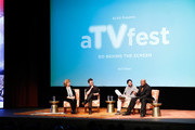 """Moderator Tina O'Hailey and actors Thomas Dekker, Kristoffer Polaha, and Page Kennedy speak on a panel during SCAD Presents aTVfest - FOX's """"Backstrom"""" on February 5, 2015 in Atlanta, Georgia."""