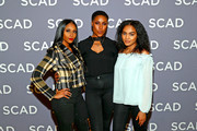 Nafessa Williams, Christine Adams,and China Anne McClain attend a press junket for 'Black Lightning' on Day 3 of the SCAD aTVfest 2018 on February 3, 2018 in Atlanta, Georgia.