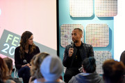 Danielle Panabaker and Kendrick Sampson speak at a panel on Day 3 of the SCAD aTVfest 2018 on February 3, 2018 in Atlanta, Georgia.