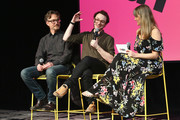 (L-R) Barry Josephson, Griffin Newman, and Laura Prudom speak during a screening and Q&A for 'The Tick' on Day 2 of the SCAD aTVfest 2018 on February 2, 2018 in Atlanta, Georgia.