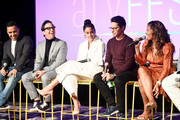 "Victor Rasuk, Dan Bucatinsky, Michelle Veintimilla, David Del Rio and Lisa Vidal speak onstage for SCAD aTVfest 2020 - ""The Baker And The Beauty"" panel on February 28, 2020 in Atlanta, Georgia."