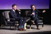 "Justin Hartley and JD Heyman speak onstage at the SCAD aTVfest 2020 - ""This Is Us"" With Justin Hartley Spotlight Award Presentation on February 29, 2020 in Atlanta, Georgia."